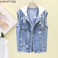 Spring and summer new retro loose fashion hooded denim vest bf hole jacket sleeveless short vest vest female
