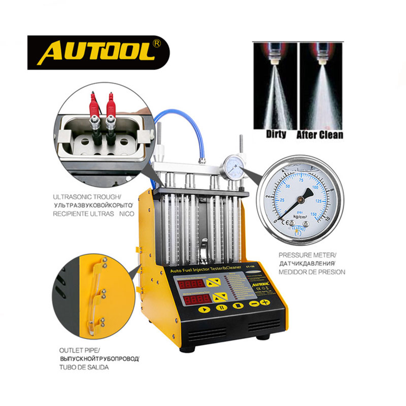 Hot Sale AUTOOL CT150 4 Cylinder Ultrasonic FUEL Injector Cleaner Tester English Panel Upgrade Version For