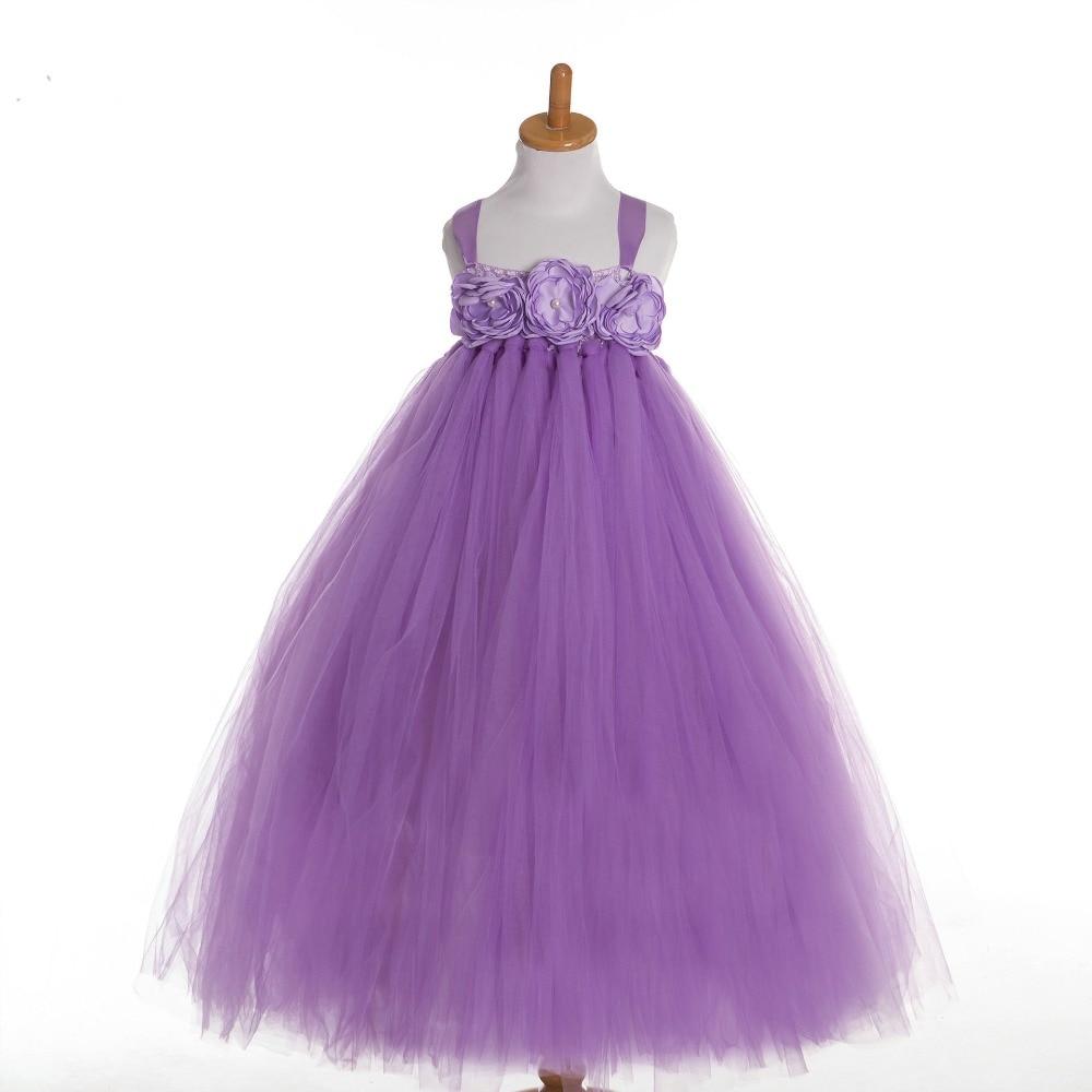 2017 Brand New Girl Dress Grace Purple Color Flowers Appliques Gir ...