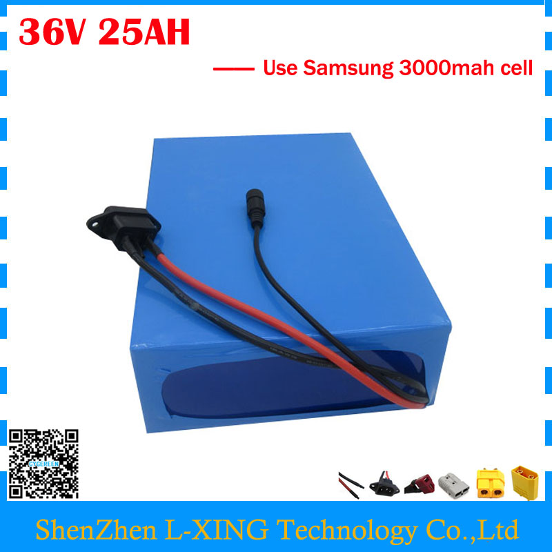 Free customs fee 36V li-ion battery pack 36V 25AH ebike electric scooter battery use Samsung 3000mah cell with 2A Charger free customs taxes and shipping li ion ebike battery pack 24v 8ah 350w electric bike kit battery hailong e bike with charger