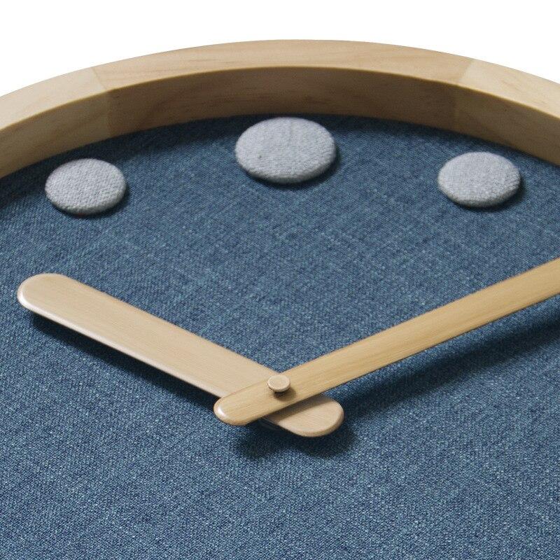 12 pouces en bois maison muet salon chambre horloge murale Simple ronde moderne calme décoration suspendue montre - 5