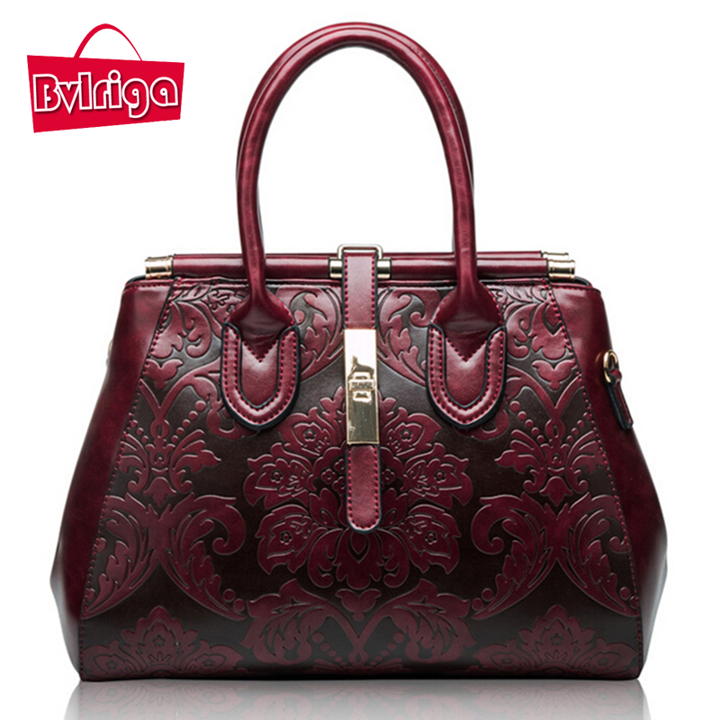 BVLRIGA Genuine leather bag brands retro handbag women messenger bags luxury han