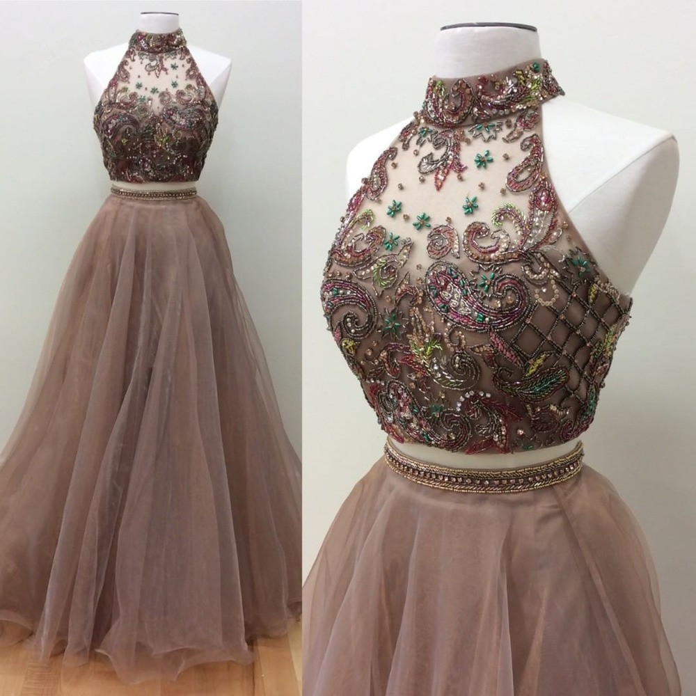 Brown 2019   Prom     Dresses   A-line Halter Tulle Beaded Two Pieces Party Maxys Long   Prom   Gown Evening   Dresses   Robe De Soiree