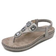 цены на Women shoes 2019 hot fashion women sandals elastic t-strap bohemia beaded owl slipper flat sandals women summer shoes flip flop  в интернет-магазинах