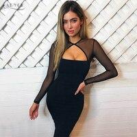 Adyce 2017 Sexy Women Dress O Neck Long Sleeve Mesh Chic Black Bandage Dress Vestidos Celebrity
