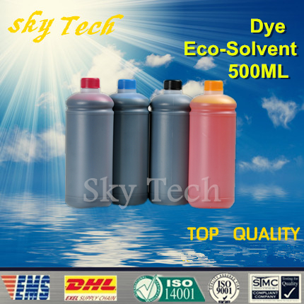 500ML*4 Dye Eco Solvent Ink suit for Epson  Printer , K C M Y 4 color ,for wood  metal  PVC ceramic etc free shipping 6pcs t0851n t0852n t0853n t0854n t0855n t0856n dye ink for epson t60 inkjet printer bk c m y lm lc