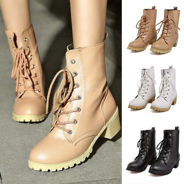 mokingtop Winter Women Solid Color Med Shoes Combat Riding Ankle Boots Casual Warm Booties chaussure femme ete #4s in Ankle Boots from Shoes on