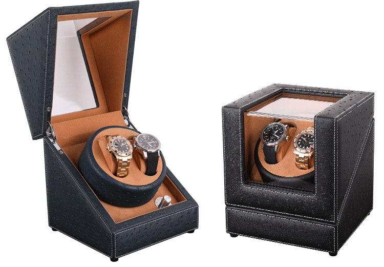 Gift Design Automatic Watch Winder Box, 4 Model Ostrich Pattern Leather 2 Power 4 Plugs Mabuchi Motor Watch Winders Quality Sure | Watch Boxes