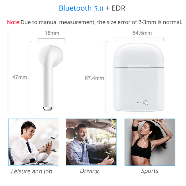 i7S Tws Wireless headset Bluetooth Earphone With Mic Stereo Earbuds Earphones Charging box for iPhone Smart Phone