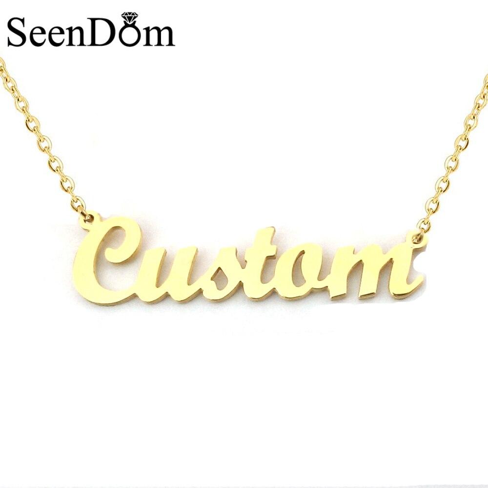 Aço Inoxidável 316L Presente romântico Personalizado Nome Colar Gargantilha da Cor do Ouro Caligrafia Assinatura Personalizada