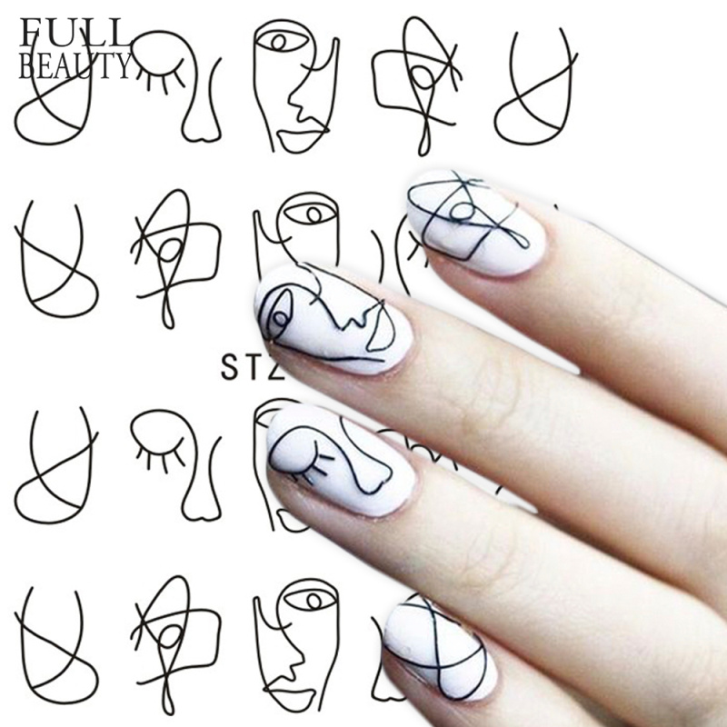 Paper-Decoration Manicure-Style-Tool Nail-Water-Sticker 1-Sheet Abstract Black Full-Beauty