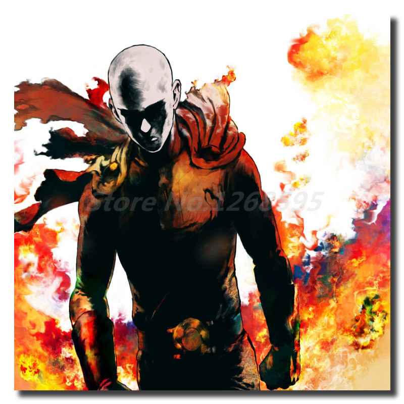 One Punch Man Saitama Anime Wallpaper Kanvas Lukisan Cetak Ruang