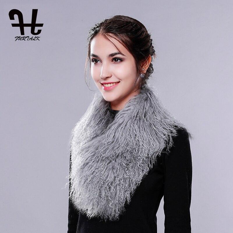 FURTALK Women Winter Collar Super Womens Wholesale Real Mongolian Lamb Fur Collar Scarf