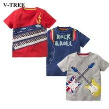 Летняя стильная футболка для мальчиков, рубашки для детей с музыкальным инструментом, Детский костюм, повседневные топы для девочек, футболки для малышей