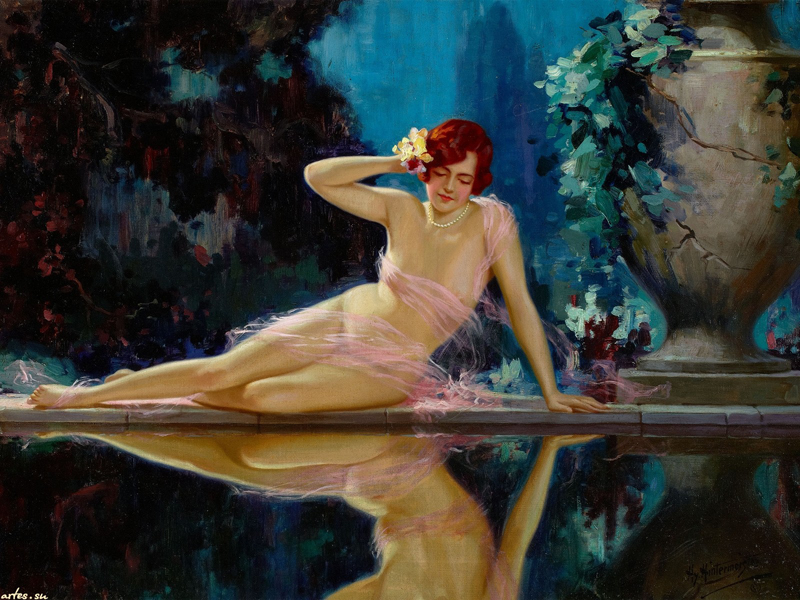 free shipping sexy women pool <font><b>reflection</b></font> <font><b>nude</b></font> art oil painting canvas prints <font><b>on</b></font> canvas home wall art decoration pictures
