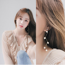 Fashion Women Pierced Charm Pendant Simulated Pearl Long Earrings  Party Earring Korean Style