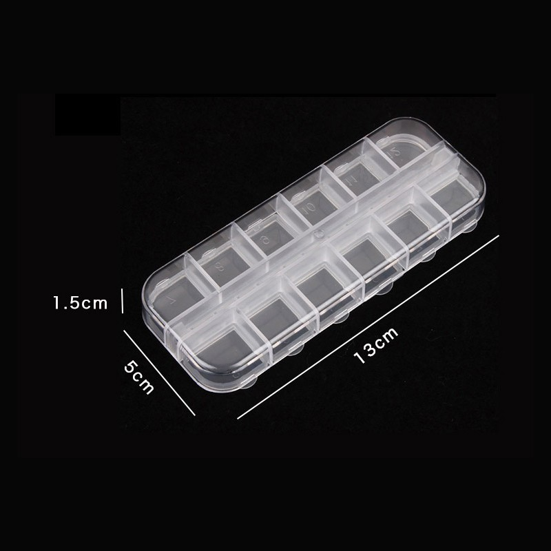 1pc 12 Case Empty Nail Art Storage Box Rhinestones Gems Accessories Jewelry Beads Organizer Translucent Plastic Container