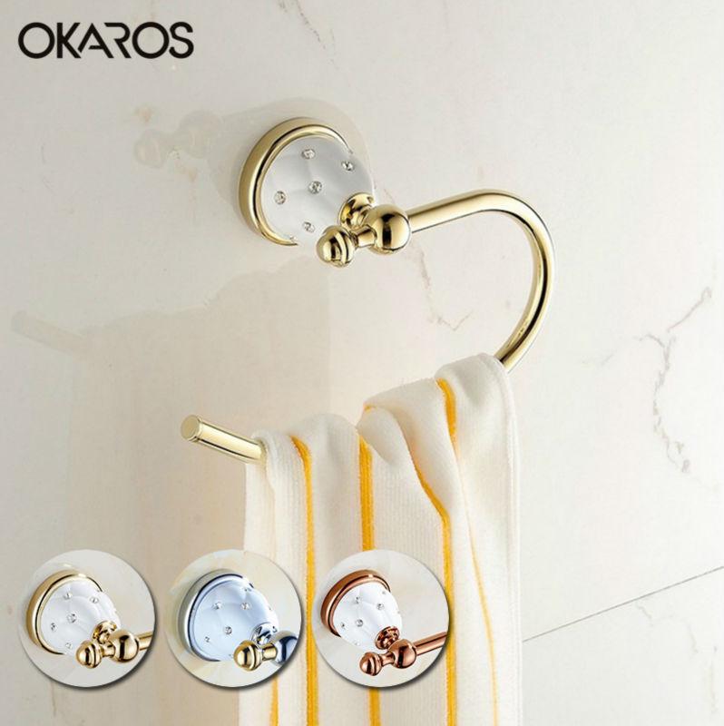 ФОТО Bathroom Towel Ring Solid Brass Golden/Chrome Finished Diamond Ceramic Decoration Towel Bar Rack Holder Bathroom Accessories