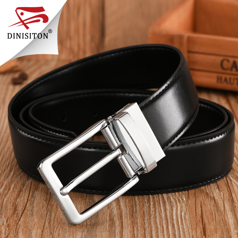 DINISITON High Quality Split Genuine Leather Belt For Male Fashionable Cowhide Men's Military Belt Luxury Brand Pin Buckle MB01