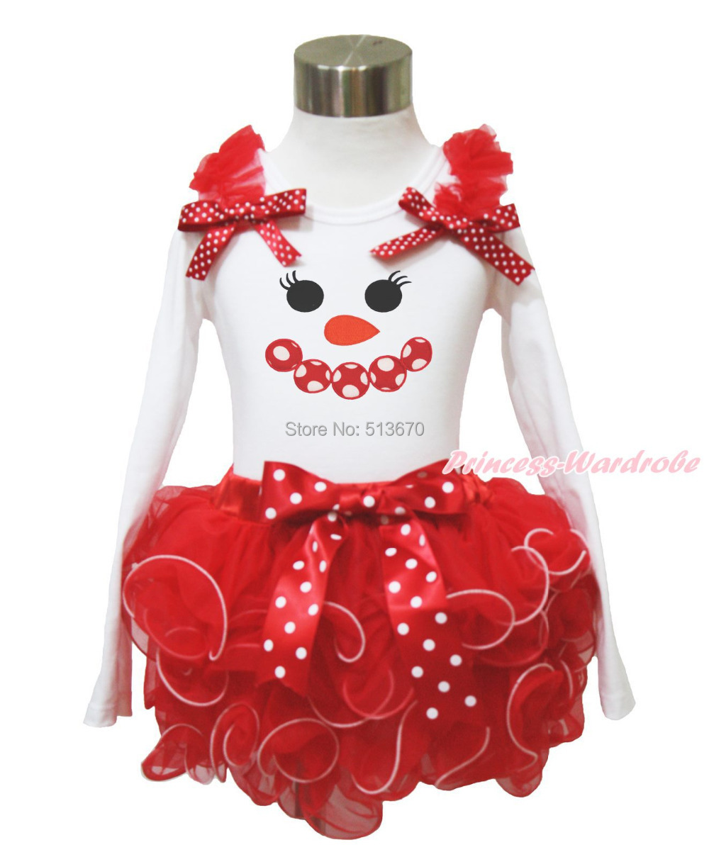 XMAS Minnie Snowman Print Red Ruffle Red White Dot Bow White Top Baby Girl Red Petal Pettiskirt Outfit Set NB-8Y MAPSA0087 my 1st christmas santa claus white top minnie dot petal skirt girls outfit nb 8y