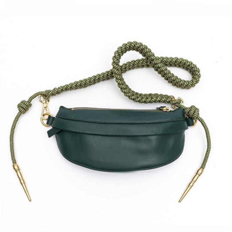 Women's Waist Bag Quality PU Leather Rope Knot Fanny Pack Bananka Travel Leisure Bum Bag Women Catwalk Belly Band Belt Bag
