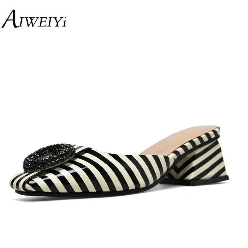 Été femmes sandales imprimer plate forme pantoufles carrés talons hauts plage tongs sans lacet à l'extérieur pantoufles marque chaussures décontractées-in Sandales femme from Chaussures    1