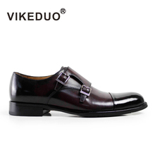2019 Vikeduo Vintage Retro Flat Mens Monk Shoes Handmade Genuine Leather Custom Made Footwear Male Wedding Office Zapato Hombre