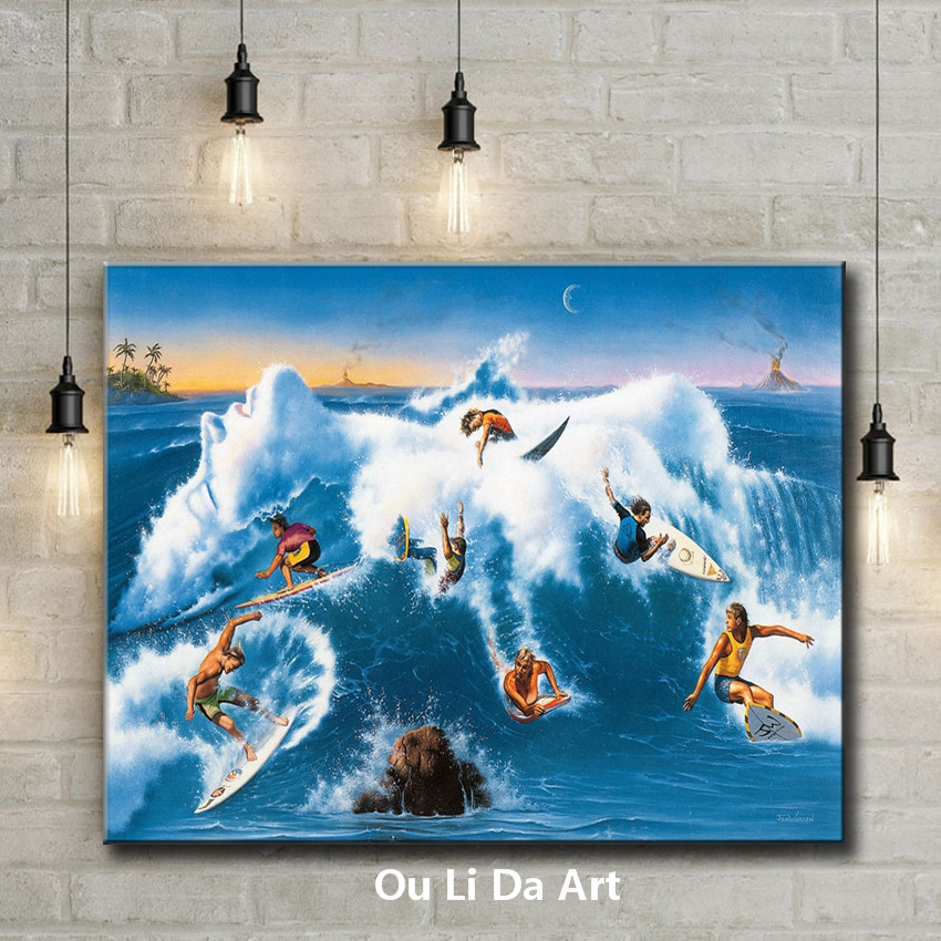 cartoon figures people surfing sescape oil painting canvas printings printed on canvas kid room wall art decoration picture