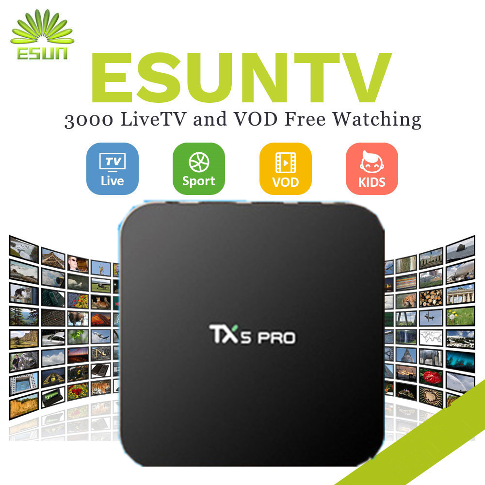1 Year IPTV included TX5PRO ESUNTV Free Set Top Box Android TV Box 2/16G Arabic Europe French America CANADA UK EX-YU XXX 2017 new arrival esuntv free iptv android tv box 2 16g europe sweden french germany italy xxx 4000 scandinavian channels