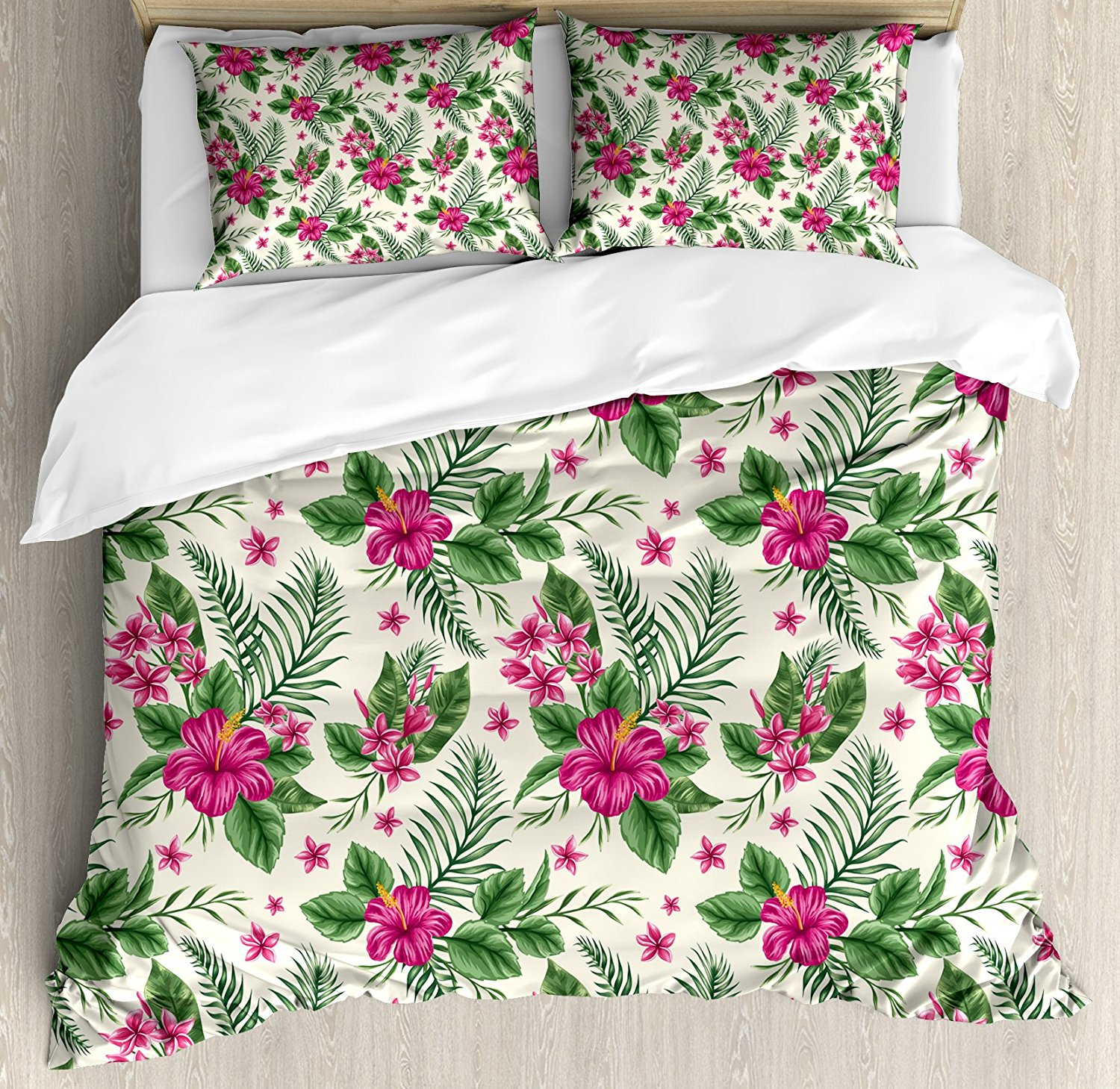 Watercolor Duvet Cover Set, Plumeria and Hibiscus Flora Tropical Island Nature Aloha Hawaii Jungle, 4 Piece Bedding Set