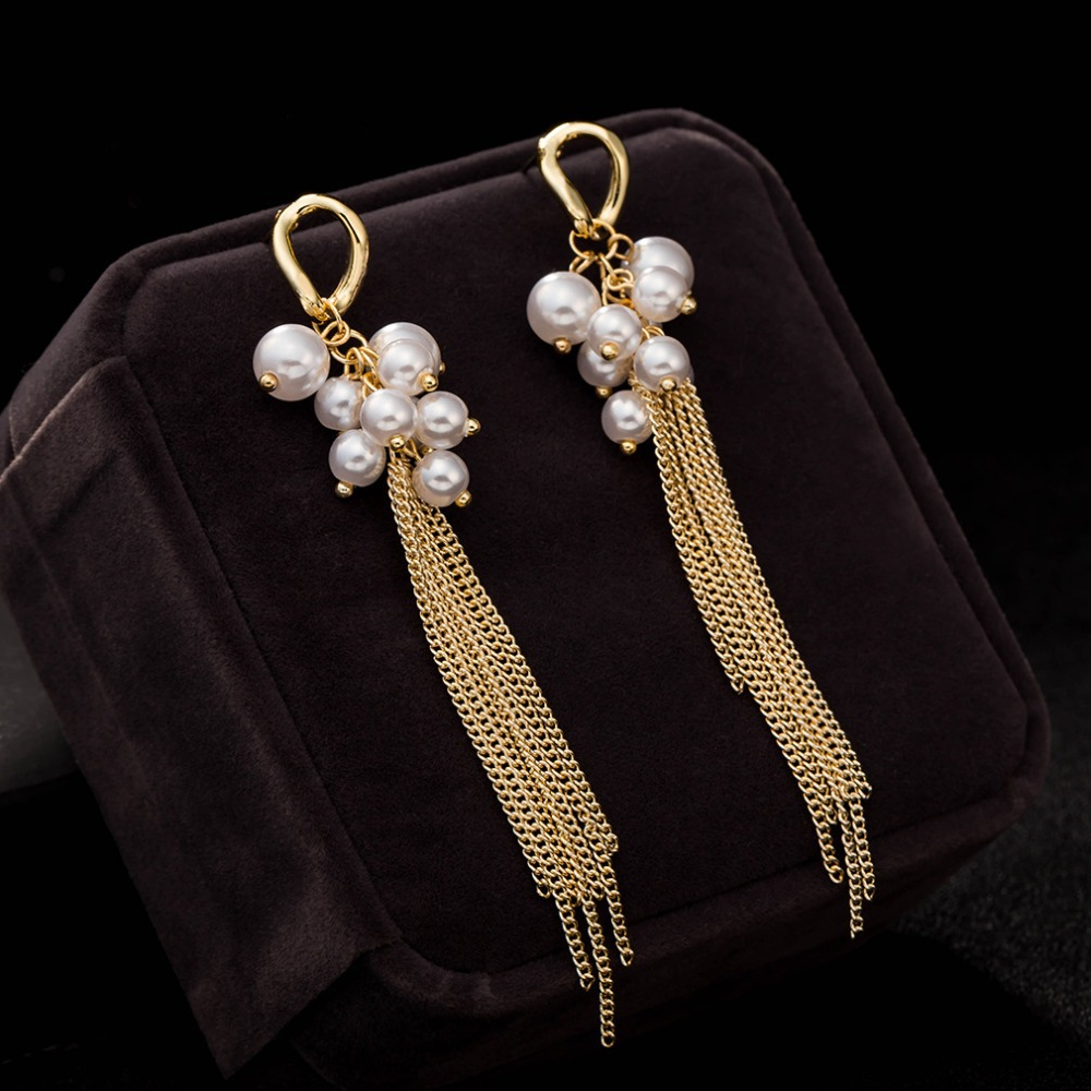 Tel Long Earrings For Women Pearl Dangle Statement Indian Jewelry Vintage Gold Plated Drop Brincos Grandes In From