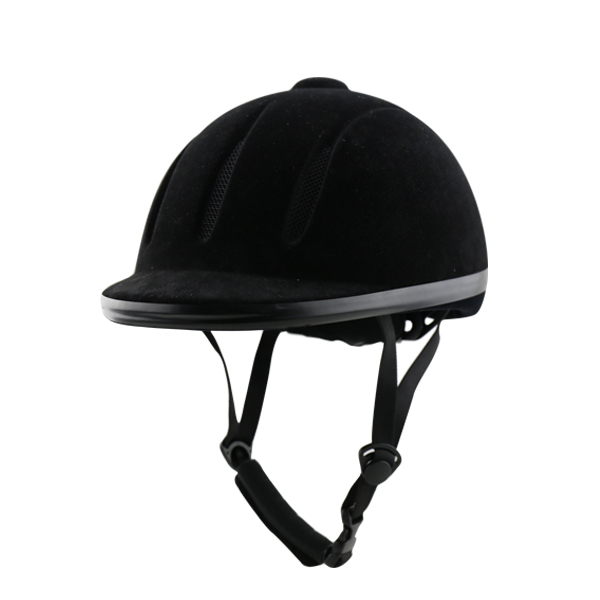 Hot sale Equestrian helmet velvet horse riding helmet black four size with adjustor high quality