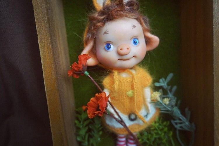 Réservation, mini cochon BJD, corps multi-articulations, adapté pour cadeau et collection, jouets cadeaux faits à la main, réservation nécessaire, série 3. - 4