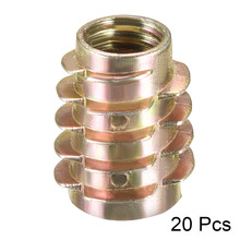 Uxcell 20pcs M8 M10 Length 13-25mm Hex-Flush Wood Insert Nut Threaded Zinc Alloy Furniture Nuts Bronze Tone