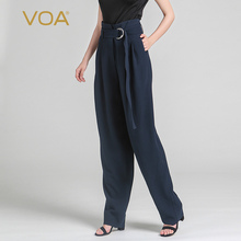 Heavy Silk Casual Plus Size Navy Blue Cross-pants Fashion Women Loose Sashes Solid High Waist Trouser