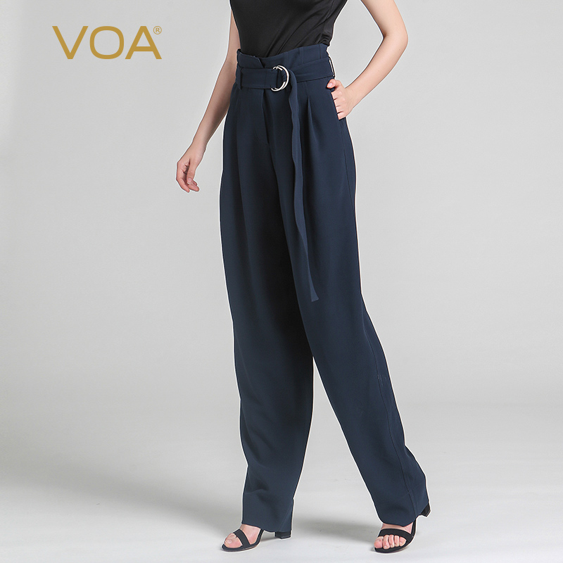 VOA Heavy Silk Plus Size Harem Pants Women Loose Casual High Waist Belt Trousers Solid Navy Blue Slant Pocket Spring KLH06602