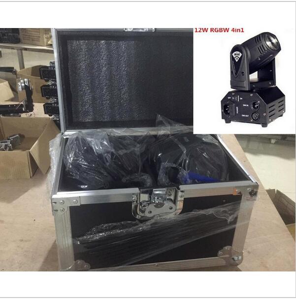 2pcs/lot with flight case 12W moving head DMX512 light beam Lights LED spot Lighting DJ Show Disco Laser Light RGBW 4in1 led