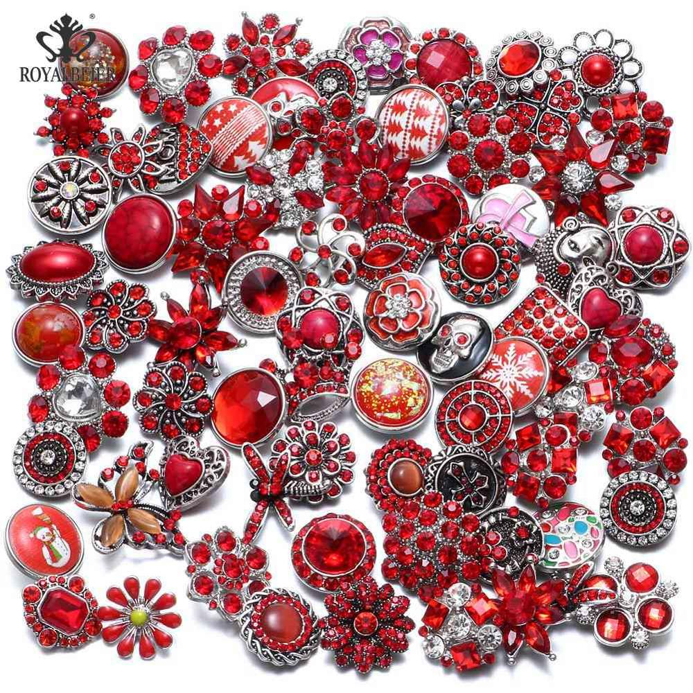50 шт./лот, смешанный металл и стекло, 18 мм, кнопки, ювелирное изделие, сделай сам, стразы, кнопки, подвески для кнопки сделай сам, браслет, ювелирное изделие - Окраска металла: Top Red Series