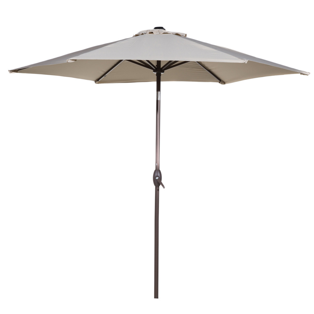 Abba Patio 9 Ft Market Outdoor Aluminum Table Patio Umbrella with Push Button Tilt and Crank Beige plaid pattern 360 degrees rotary pu case w stand for samsung galaxy tab 3 lite t110 t111 red