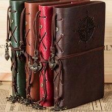 Retro diario Bloc de notas con espiral Bloc de notas Vintage anclas de piratas de cuero de la PU Nota de libro reemplazable papelería regalo viajero diario