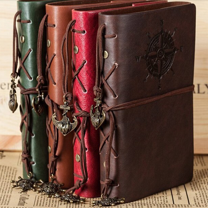 Retro espiral caderno diário bloco de notas pirata do vintage âncoras couro do plutônio nota livro substituível papelaria presente viajante diário