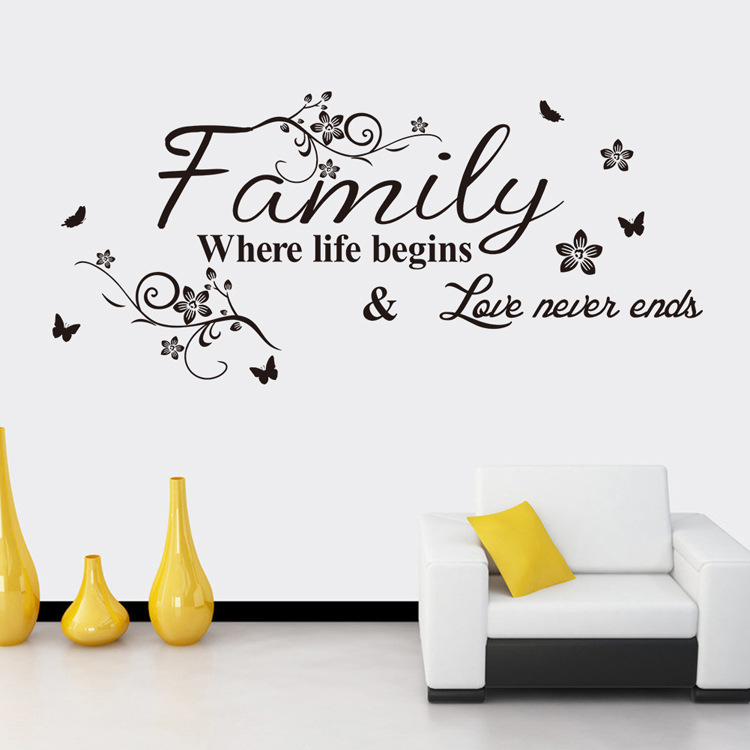 Modern Home Decor Decals Family Where Life Begin Quotes Wall Sticker Vinyl  Character Quotes Living Room Decals BD 4 In Wall Stickers From Home U0026  Garden On ...