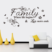 Modern Home Decor Decals Family where life begin Quotes Wall Sticker Vinyl Character Living Room BD-4
