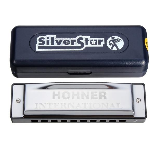 Silver Star HOHNER C Llave 10 hoyos Blues Jazz Harmonica Organ con caja Instrumentos