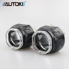 "Autoki Square LED Angel Eyes Bi xenon Lens Projector Headlight For Car Retrofit DIY W/ Daytime Running Lights 2.5"" H4 H7"