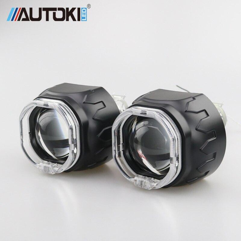 Autoki Square LED Angel Eyes Bi xenon Lens Projector Headlight For Car Retrofit DIY W/ Daytime Running Lights 2.5'' H4 H7