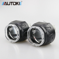 Autoki Square LED Angel Eyes Bi xenon Lens Projector Headlight For Car Retrofit DIY W/ Daytime Running Lights 2.5'' H4 H7