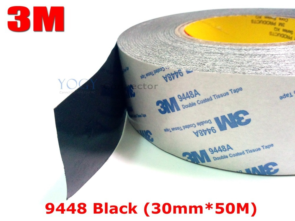 3M Black, 30mm*50 Meters 9448 Black Two Sided Tape for Industrial joining, Foam and Rubber Lamination, LCD Screen Bond3M Black, 30mm*50 Meters 9448 Black Two Sided Tape for Industrial joining, Foam and Rubber Lamination, LCD Screen Bond