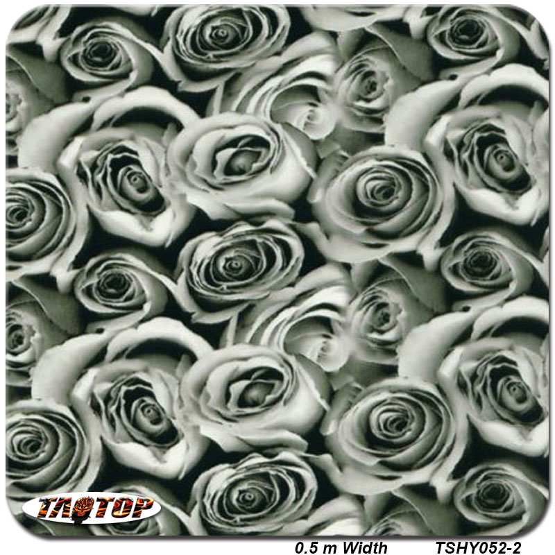 ITAATOP TSHY052-2 0.5m *2M Popular Black Rose Flower Hydro Dipping Pva Film Hydrographic Film  Water Transfer Printing Film