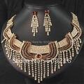 Alta qualidade de cristal austríaco promoção banhado a ouro 14 K bijuterias indiano jóias de noiva